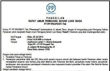 Panggilan RUPS PT PP Properti Tbk.