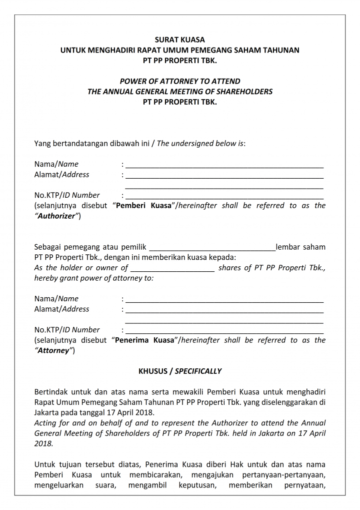 Surat Kuasa Menghadiri Rupst Pt Pp Properti Tbk Tahun Buku