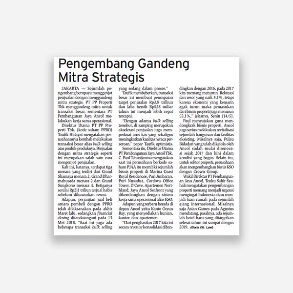 Bisnis Indonesia - Pengembang Gandeng Mitra Strategis