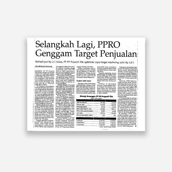 Selangkah LAgi, PPRO Genggam Target Penjualan