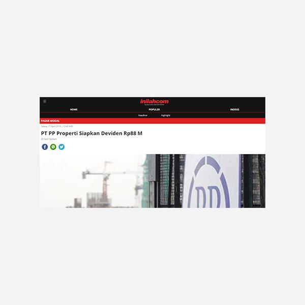 Inilah.com - PP Properti Siapkan Deviden Rp 88 M