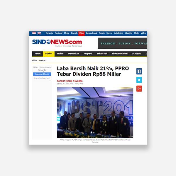 Sindonews.com - Laba Bersih Naik 21%, PPRO Tebar Dividen Rp 88 miliar