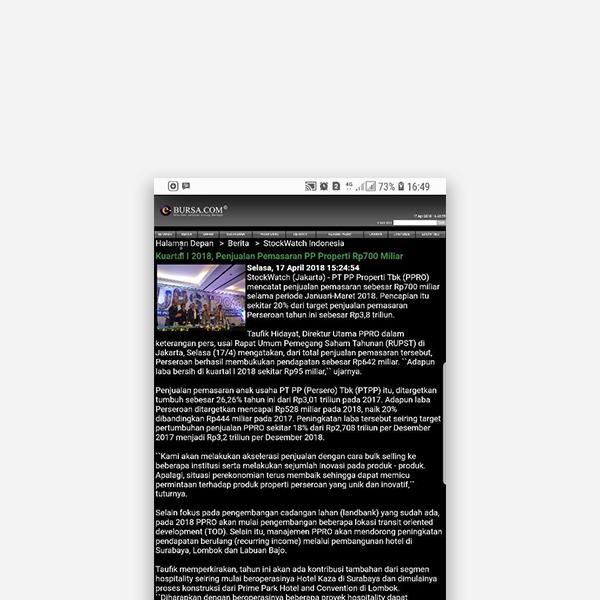 E-bursa.com - Kuartal 1 2018, Penjualan Pemasaran PP Properti Rp 700 Miliar