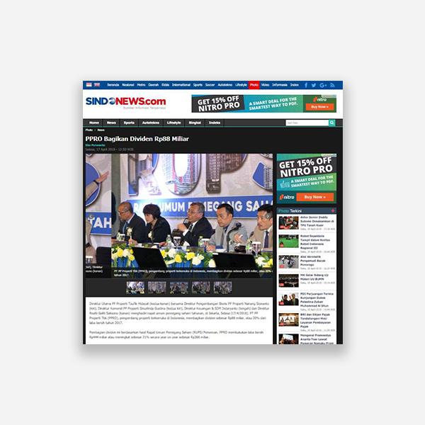 Sindonews.com - PPRO Bagikan Dividen Rp 88 miliar