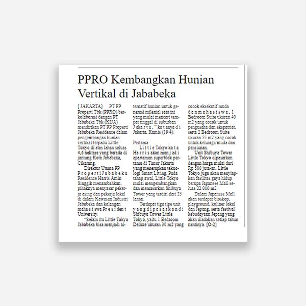 Suara Pembaruan - PPRO Kembangkan Hunian Vertikal di Jababeka