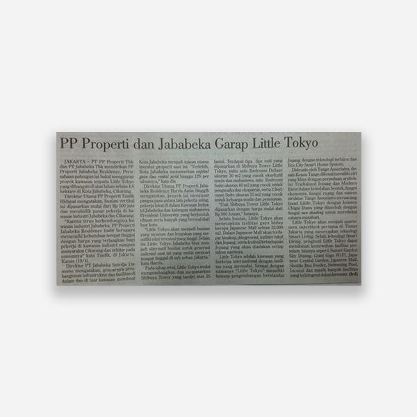 Investor Daily - PP Properti dan Jababeka Garap Little Tokyo