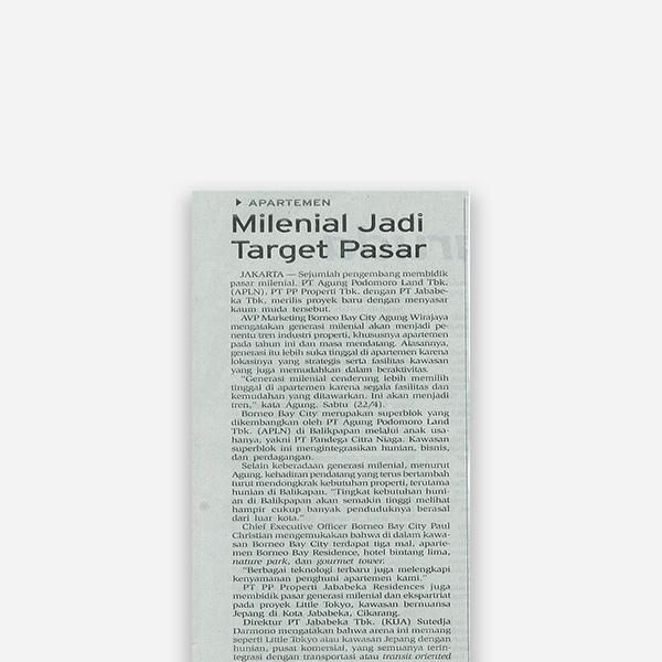 Bisnis Indonesia - Milenial Jadi Target Pasar
