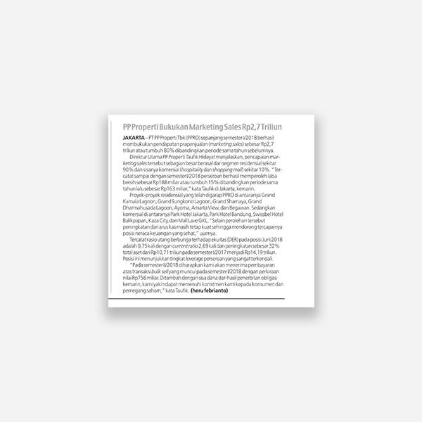 Koran Sindo - PP Properti Bukukan Marketing Sales Rp 2,7 Triliun