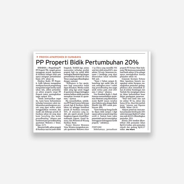 BIsnis Indonesia - PP Properti Bidik Pertumbuhan 20%
