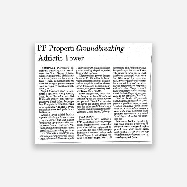 Investor Daily - PP Properti Grounbreaking Adriatic Tower