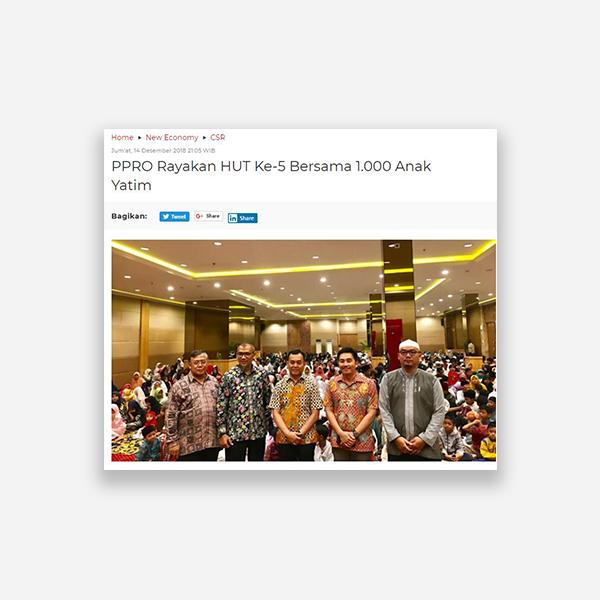 Wartakota.co.id - PPRO Rayakan HUT Ke-5 Bersama 1.000 Anak Yatim