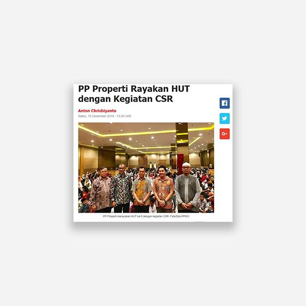 Sindonews.com - PP Properti Rayakan HUT dengan Kegiatan CSR