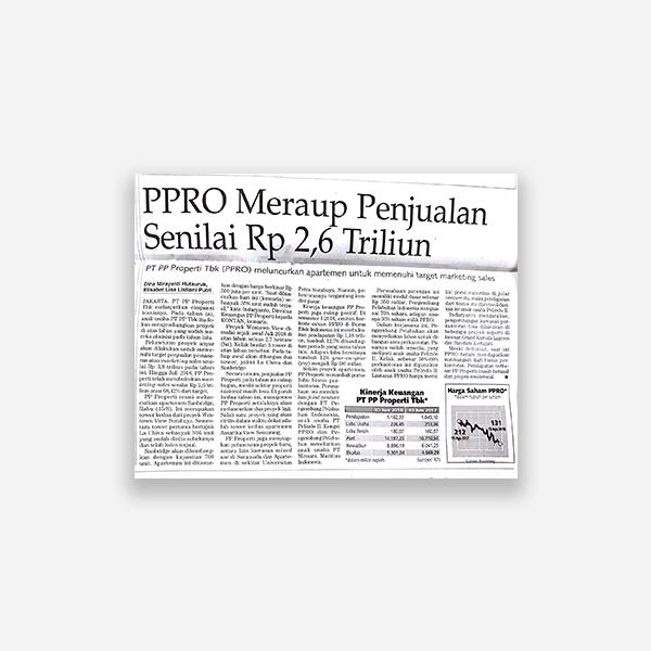 Kontan - PPRO Meraup Penjualan Senilai Rp. 2,5 Triliun