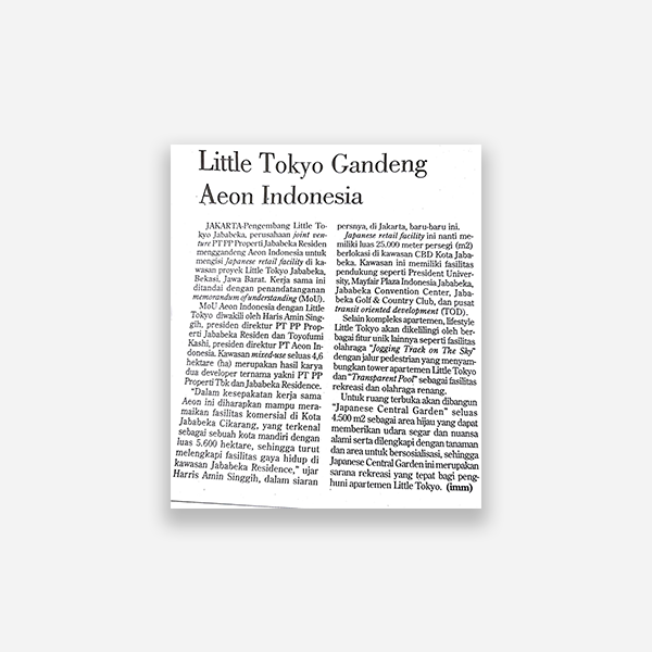 Investor Daily - Little Tokyo Gandeng Aeon Indonesia