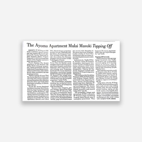 Investor Daily - The Ayoma Apartemen Mulai Memasuki Topping Off
