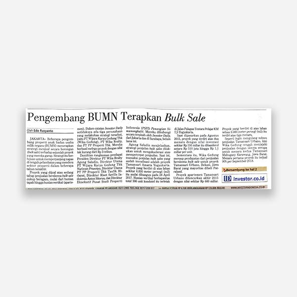 Investor Daily - Pengembang BUMN terapkan Bulk Sale