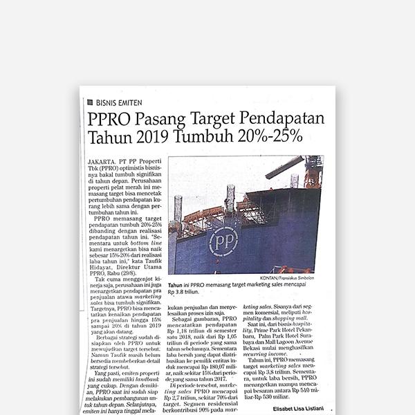 Kontan - PPRO Pasang Target Pendapatan Tahun 2019 Tumbuh 20% - 50%