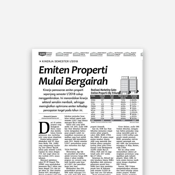 Bisnis Indonesia - Emiten Properti Mulai Bergairah
