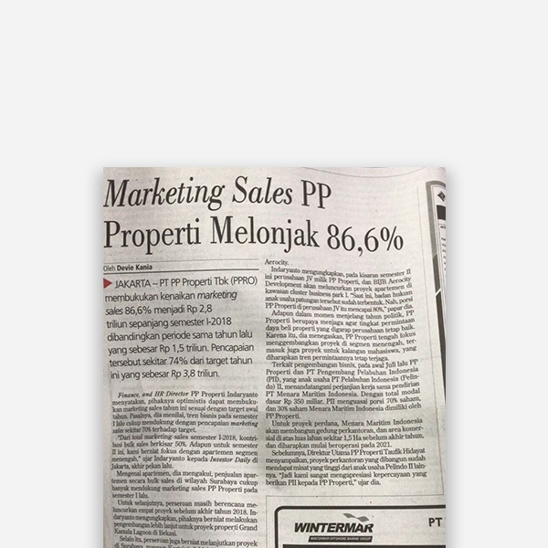 Investor Daily - Marketing Sales PP Properti Melonjak 86,6%