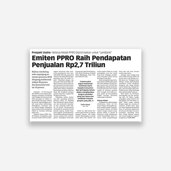 Koran jakarta - Emiten PPRO Raih Pendapatan Penjualan Rp 2,7 Triliun