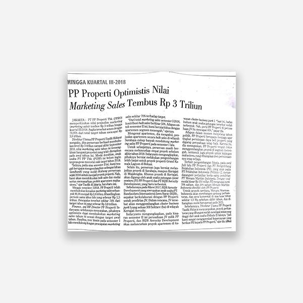 Investor Daily - PP Properti Optimis Nilai Marketing Sales Tembus Rp, 3 Triliun
