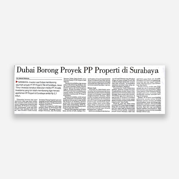Investor Daily - Dubai Borong Proyek PP Properti Di Surabaya