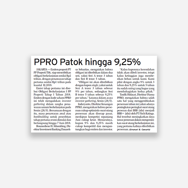 Bisnis Indonesia - PPRO Patok Hingga 9,25%